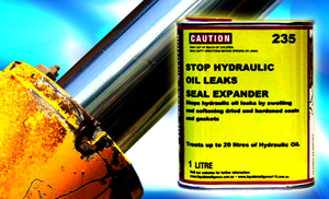 Liquid Intelligence 235 Will Stop Hydraulic Oil Leaks by Swelling and Softening Dried and Hardened Seals and Gaskets. Guaranteed.